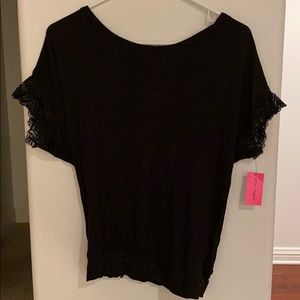 Black top with lace and back accent